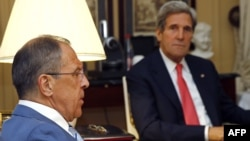 Russian Foreign Minister Sergei Lavrov (left) with U.S. Secretary of State John Kerry in Paris on May 27