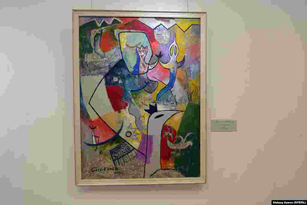 На выставке есть несколько работ, так или иначе связанных с конкретными историческими деятелями. Примечательно, что среди них нет ни одного деятеля постсоветского периода, даже Нурсултана Назарбаева. Но есть, например, картина «Сон Чингисхана», созданная Сембигали Смагуловым в 1993 году.