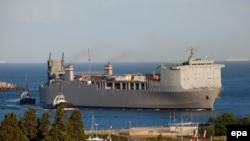 Корабль, на борту которого вывозится сирийское химическое оружие.