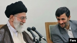 Will Supreme Leader Ayatollah Ali Khamenei (left) back isolation and Mahmud Ahmadinejad for reelection...