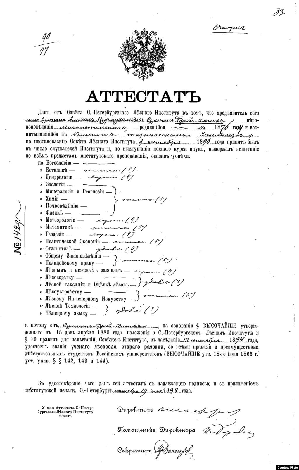 Әлихан Бөкейханның Петербордағы Императорлық орман институтын 1894 жылы тәмамдағаны туралы аттестат (диплом).