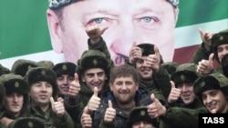 Нохчийчоь -- Нохчийн кегийрхой Оьрсийчоьнан арме дIахьажочу церемонехь дакъалоцуш ву Кадыров Рамзан, Лахьан-бутт 17, 2014