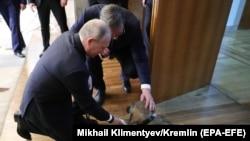 Руският президент Путин получи от сръбския си колега Вучич шарпланинска овчарка. АФП