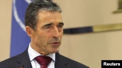 Libya -- NATO Secretary-General Anders Fogh Rasmussen speaks during a news conference in Tripoli, 31Oct2011