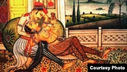 """Hindistan - """"Kama Sutra""""dan rəsm, əsər 1,500 əvvəl yaradılıb."""