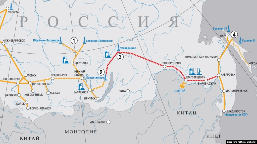 A map of the Power Of Siberia pipeline