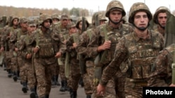 Armenia -- Soldiers march to a military exercise.