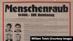 Afiş al poliţiei vest-berlineze, legat de răpiri neelucidate din anii 1950