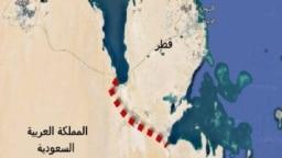نقشه مرز زمینی بین قطر و عربستان سعودی، دو کشور عضو شورای همکاری خلیج فارس