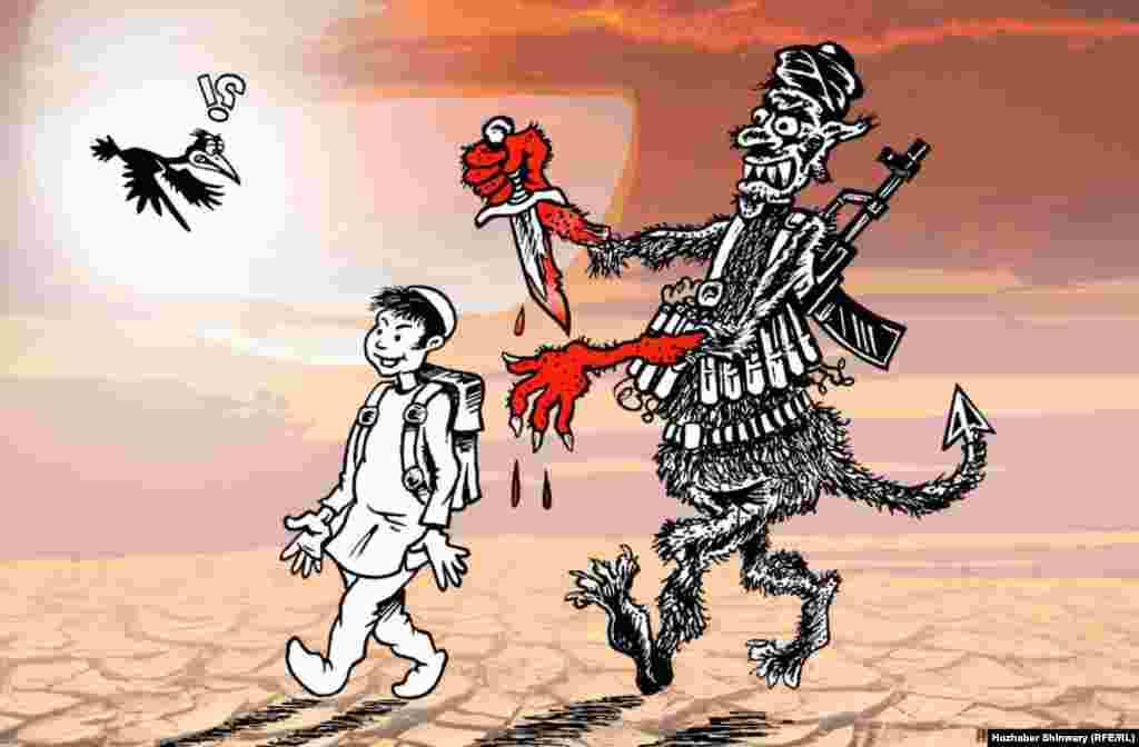 A depiction of the Taliban massacre of schoolchildren in Peshawar on December 16.