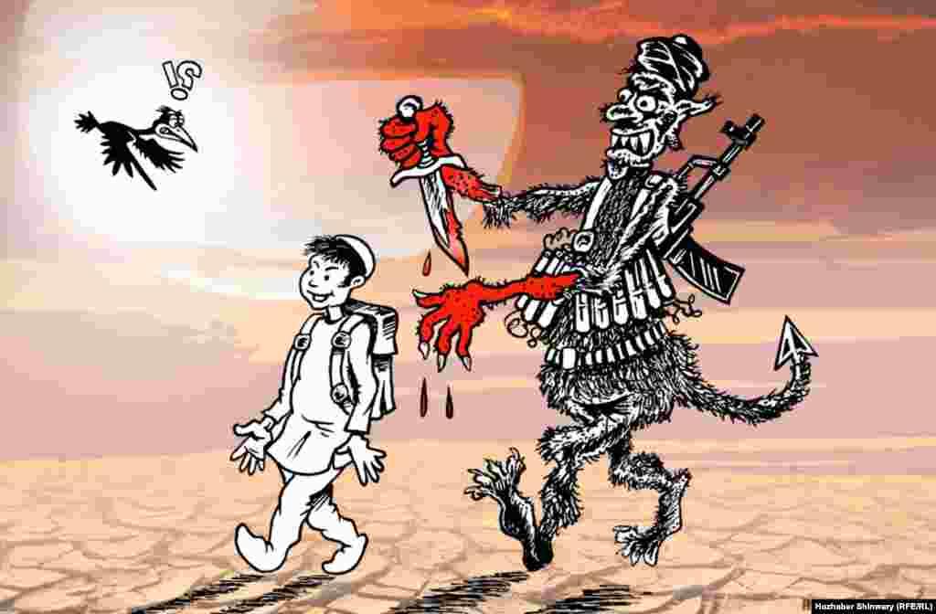 A depiction of the Taliban massacre of schoolchildren in Peshawar on December 16.