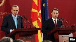 Турскиот и македонскиот премиер, Реџеп Таип Ердоган и Никола Груевски.