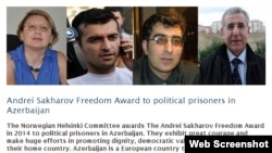 Oslo - 2014 Andrei Sakharov Freedom Award recognizes 98 political prisoners in Azerbaijan.