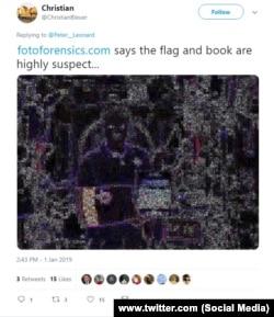 Сайт fotoforensics.com, анализирующий фотографии на предмет обработки, выявило что цвета флага и книги не соответствуют общей гамме цветов на снимке.