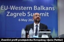 Президент Європейської ради Шарль Мішель під час саміту ЄС-Західні Балкани, що був проведений віртуально через коронавірус. Травень 2020 року