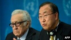 "Лахдар Брахими и Пан Ги Мун на конференции по Сирии ""Женева-2"", Монтрё, 22 января 2014"
