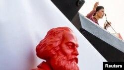 Skulptura Karla Marksa na mitingu nemačke levice Die Linke u Lajpcigu, 28. avgust 2013.