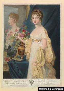 Портрет императрицы Елизаветы Алексеевны. Гравюра по картине Жан-Лорана Монье. 1805