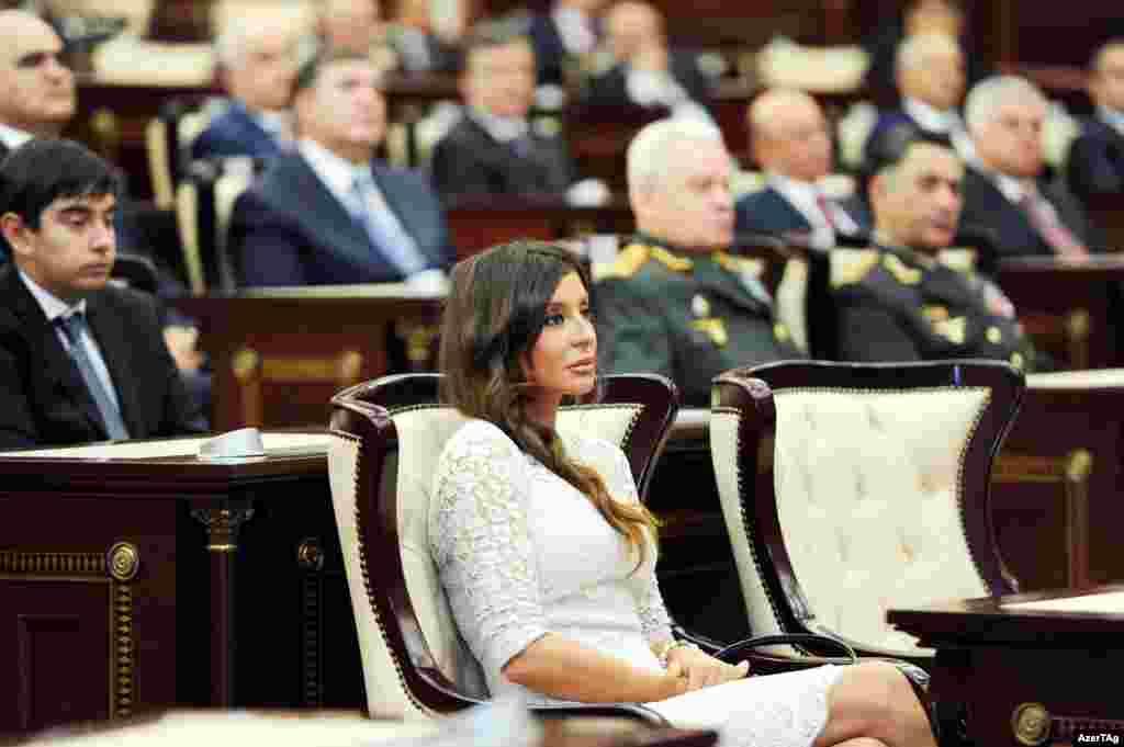 Aliyev's wife, Mehriban Aliyeva, was also in attendance...