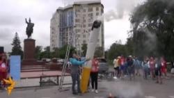 В Бишкеке сожжена гигантская сигарета