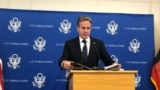 د امریکا د بهرنیو چارو وزیر انتوني بلېنکن په کابل کې خبري کنفرانس کوي. ۲۰۲۱، ۱۵م اپرېل