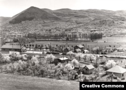 Visoko, with the angular Visocica Hill (top left) photographed in the 1970s. The town is just north of the Bosnian capital, Sarajevo.