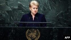 Литванын президенти Даля Грибаускайте БУУнун 70 жылдык ассамблеясында. 29-сентябрь, 2015-жыл
