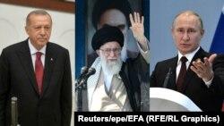 Лидеры Турции, Ирана и России: Реджеп Эрдоган, Али Хаменеи, Владимир Путин