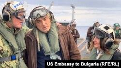 US ambassador to Bulgaria Mustafa and Prime Minister Borisov aircraft carrier USS Harry S. Truman