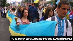 Resident of Dnipropetrovsk take part in a pro-Ukraine rally earlier this month.
