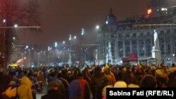 Pamje nga protesta e 29 janarit në Bukuresht, Rumani
