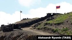 ARMENIA -- Azerbaijani (L) and Armenian checkpoints at the Sotk gold mine on the Armenian-Azerbaijani border, Gegharkunik province, June 18, 2021