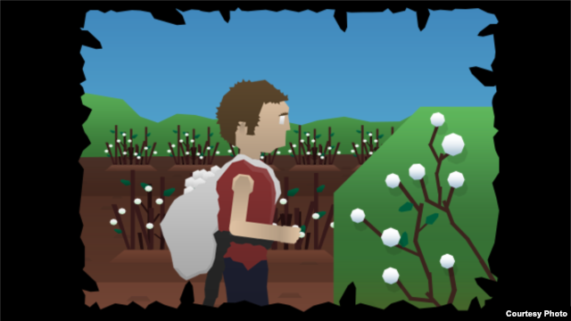 "A screenshot from ""My Cotton Picking Life,"" a new computer game set in the cotton fields of Uzbekistan."