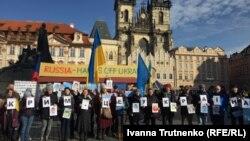 Флешмоб «Крым – это Украина» в Праге