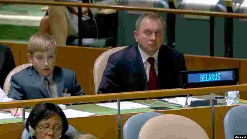 Kolya and Belarusian Foreign Minister Uladzimer Makey attend the UN General Assembly in New York on September 28.