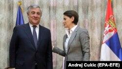 Premijerka Ana Brnabić i predsjednik EP Antonio Tajani u Beogradu, 31. januara 2018.