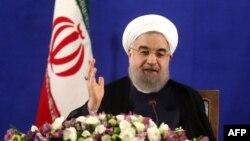 Presidenti iranian Hassan Rohani në konferencën e sotme për media