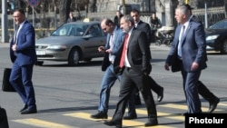 Armenia - Prime Minister Nikol Pashinian crosses a street near the parliament building in Yerevan, February 13, 2019.