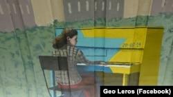 Антуанетта Міщенко, піаністка з Майдану, фрагмент муралу на станції метро «Осокорки»