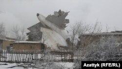 "Разбившийся ""Боинг"" в селе Дачи-СУ. Бишкек, 16 января 2017 года."