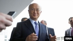 IAEA chief Yukiya Amano after arriving in Tehran