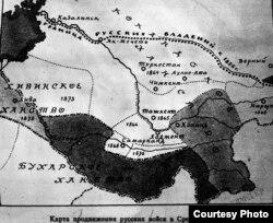 Падышалык аскерлердин Борбордук Азияга сүңгүшүнүн картасы.