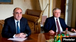 Foreign Ministers Elmar Mammadyarov (L) of Azerbaijan and Edward Nalbandian of Armenia.