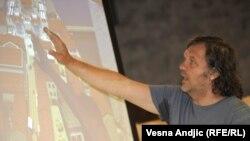 Kusturica na prezentaciji izgradnje Andrićgrada, jun 2011.