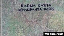 Jedna od vojnih karti s označenim sarajevskim frontom