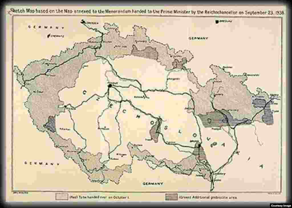 A sketch map of Bohemia and Moravia attached to the Munich Agreement of September 29, 1938. The shaded areas show the regions taken from Czechoslovakia and given to Germany.