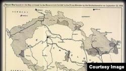 Карта с указанием старых и новых границ Чехословакии, приложенная к тексту Мюнхенского соглашения