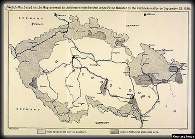 Карта отторгаемых у Чехословакии территорий – графическое приложение к Мюнхенскому соглашению