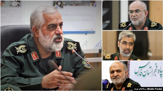 "The commander of IRGC's regional HQ in the south of Iran ""Madineh"", Hamid Sarkheili and his provincial deputies Abazar Salari (Hormozgan), Hashem Ghiasi (Fars), and Ali Razmjou (Bushehr)."