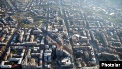 Armenia - Aerial view of a part of downtown Yerevan.